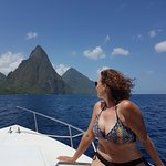 The two Pitons! View from the sea!