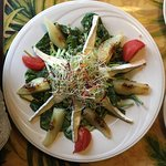 Braised Pear and Brie Spinach Salad
