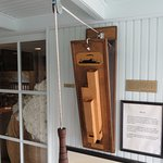 Steamboat whistle in Pilothouse replica at Mark Twain Museum