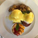 Eggs benedict served on homemade toutons!