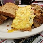 custom omelette, home fries and toast