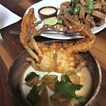 Fried Soft Shell Crab served w/ lime yogurt paired w/ cilantro & cantaloupe and Cinnamon Calamar