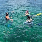 Hannah helping the snorkelers