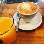 latte and freshly squeezed orange juice