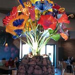 The beautiful glass flower arrangement at Wildflower