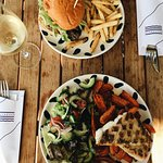 Grilled snapper with sweet potato wedges and the beef burger