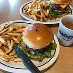 Steak burger, fries and coffee