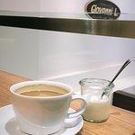 Classic black coffee  Halloumi bagel 😍😍