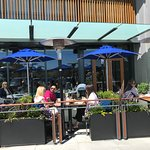 Patrons enjoy the patio on a beuatiful May afternoon
