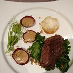 The main; Marmor beef with potato gratin and wild forest mushroom sauce