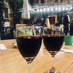 delicious wine in a beautiful courtyard
