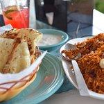 Delicious Naan bread and Lamb Biryani