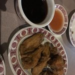 Good chicken wings with sauce