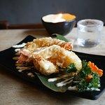 Ebi mayo and sake