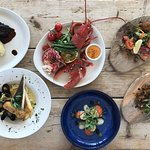 Fillet beef, Grilled Lobsters, Trio of salmon, Pan Roasted Brixham Plaice, Scallops, Scotch Egg