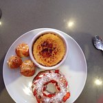 Paris Brest with strawberries and chantilly cream, creme brûlée, and Chou pastry puffs