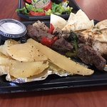 Combo kebab platter. Chicken, Steak. Side of greek potatoes