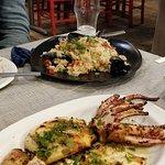 Grilled calamari and seafood risotto