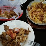 Calamaria, bacon wrapped scallops, and loaded fries