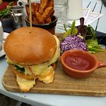 Cheeseburger, salad, home made purple coleslaw, chips