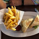 The smoked chicken sandwich with fries