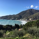 The bay of Levanto with perfect surf conditions