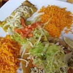 Combo taco & enchilada & chips & salsas