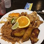 Fried Conch, rice, plantain, and macaroni