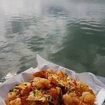 Shrimp nachos with a view