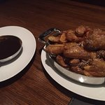 fingerling potatoes and red wine reduction
