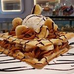 Tasty Banana Split Waffle!