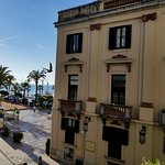 View of City Hall and the Mediterranean from the balcony of Hotel Metropol in Lloret de Mar, Spa