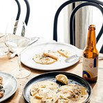Spanner Crab Ravioli and a bottle of our crisp Birra Zonzo Lager
