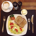 Omelette with Wholemeat bread + Hot Cappuccino
