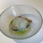 Anchovies with green apple and lemon foam