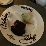 Complimentary Chocolate and Peanut Butter with Mint Ice Cream Brownie