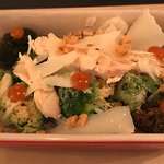 Broccoli salad with smoked chicken and parmesan