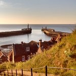 View of Whitby harbour entrance from the 199 steps