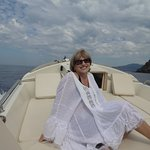 Lounging on the comfortable and beautifully maintained leather seating at front of speed boat
