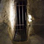 A lockedup wine cellar inside.