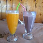 Fresh Orange Juice and Chocolate Milk Shake.