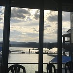 The view of the lake from our table - still beautiful just ahead of a real downpour!