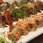 Prawn Tempura Roll, Dragon Roll and Fuji Roll