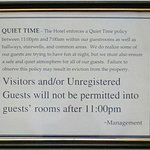 Best practices: Posted at/in the elevator. Set the tone for a great hotel experience.