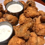 Fried mushroom appetizer - yum! And great pricing at Happy Hour!