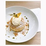 """helga"" filled with fresh organic apricot, salted breadcrumbs, vanilla ice cream on top & sweet"