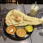 The two curry dinner with naan, yellow rice and lassi to drink. This was an excellent dinner cho