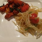 Chicken starter and raw papaya salad
