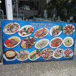 The advertising for the meals at Syrtaki Restaurant