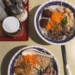 Banh Tam (bottom) and Be Bung (top), both dishes = $12